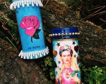 Mexican Prayer Votive Candles Lotería & Frida Kahlo
