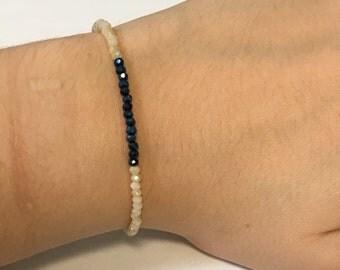 Sapphire and cream beaded bracelet