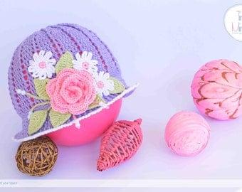 Girls summer hat, Girls sun hat with rose, Girls Panama hat, Crochet girls hat, Beach hat girls accessories, Panama baby, Crochet Cloche Hat