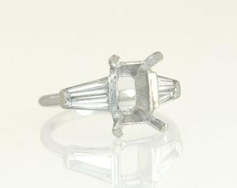 Antique Vintage Estate 14k White Gold .40ct Genuine Diamond Semi Mount Ring 3.9g