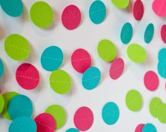 Girl's Birthday Hot Pink, Lime Green, & Turquoise Circle Garland 10 feet Long
