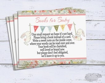 Bring a Book Instead of a Card, Books for Baby Insert, Bunny Baby Shower Printable, Book Request Card, Girl Baby Shower, Instant Download