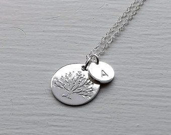 Tree Necklace Silver Family Tree, Personalized Necklace Custom Tree Pendant, Hand Stamped Tree of Life, Mom Jewelry gift Mothers Day