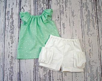 Mint Flutter Sleeve Peasant Top, Little Girls Top, Peasant Blouse, Summer Top, Toddler Shirt
