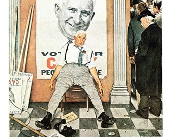 Before and After a Post Cover from November 1958 painting by Norman Rockwell