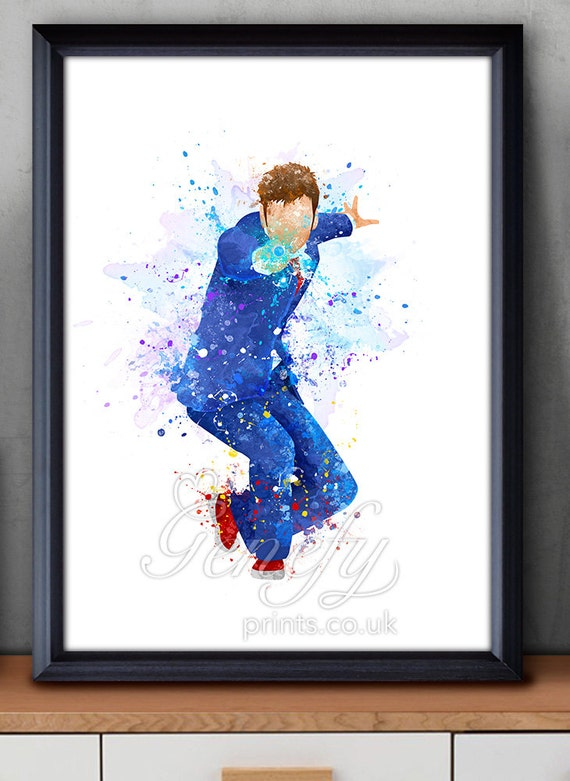 David Tennant Doctor Who Tenth Doctor Watercolor Art Poster Print - Wall Decor - Watercolor Painting - Home Decor - Nursery Decor [2]