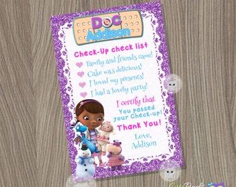 Doc McStuffins Thank You Card, Doc McStuffins Birthday, Doc McStuffins Party, Doctor Thank You Card, Doc Thank You Card