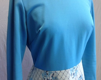 Blue Vintage 1960s Dress with Vest