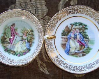 Royal Imperial - Courting Couple - Finest Bone China - Vintage Tea Cup and Saucer - Colonial Couple with Gold Floral - Made in England