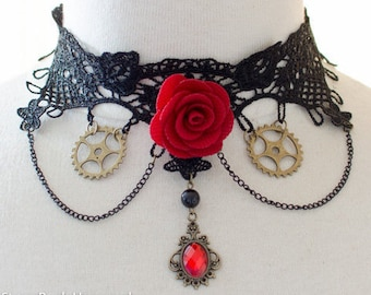 steampunk lace choker with cogs and rose