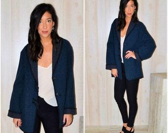 Blue Wool Coat Long Sleeve Jacket Navy Wool Blazer Vintage Wool Kimono Modern Hipster Boho Hippie Chic Women's Large Over-coat Thick Jacket