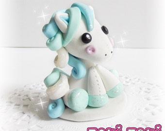 Cute Pony Figurine, Cloud Pony Sculpture, Polymer Clay Pony, Kawaii Chibi Figurine, Kawaii Pony, Miniature Figurine, Clay Figure, Blue Pony