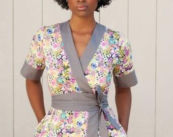 Kimono Dress, Liberty Print, Wrap Dress, Liberty Print Dress, Floral Midi Dress w/ Pockets & Obi, Midi Dress, Kimono Style Dress,MadeToOrder