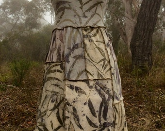 SALE Mori kei forest girl patchwork dress with natural eco-print