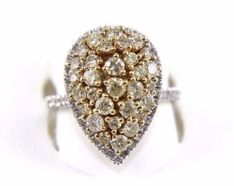 Fancy Yellow Pear Cluster Pave Diamond Fashion Ring 14k White & Yellow Gold 1.90Ct
