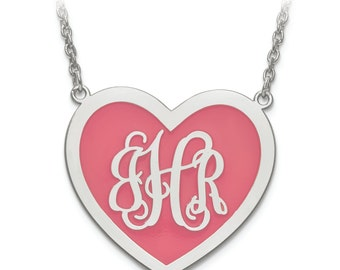 Enamled Monogram Heart Pendant Necklace - Available in 2 Sizes