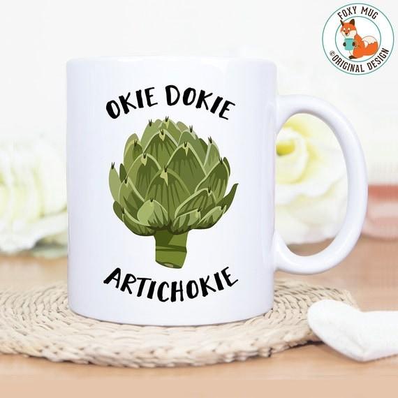 Coffee Mug Okie Dokie Artichoke Coffee Cup - Great Gift for Vegan or Vegetarian - Funny Mug - Travel Mug