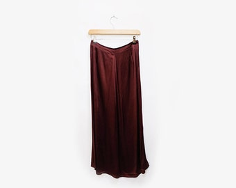 Satin Burgundy A Line Skirt S
