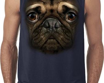 Men's Funny Shirt Big Pug Face Sleeveless Tee T-Shirt 18219D1-42700