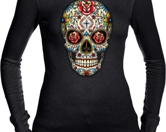Ladies Skull Shirt Sugar Skull with Roses Long Sleeve Thermal Tee T-Shirt WS-16553-B8500