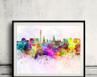 Dundee skyline in watercolor background - Poster Digital Wall art Illustration Print Art Decorative - SKU 1903