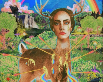 Patron Saint of Continual Bliss - Art Print 8x10 - Deer - Frida - inspired