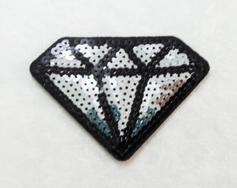 Silver Diamond Sequin Iron on Patch (L) - Sequin Diamond,Glitter Applique Iron on Patch - Size 9.4x6.5 cm