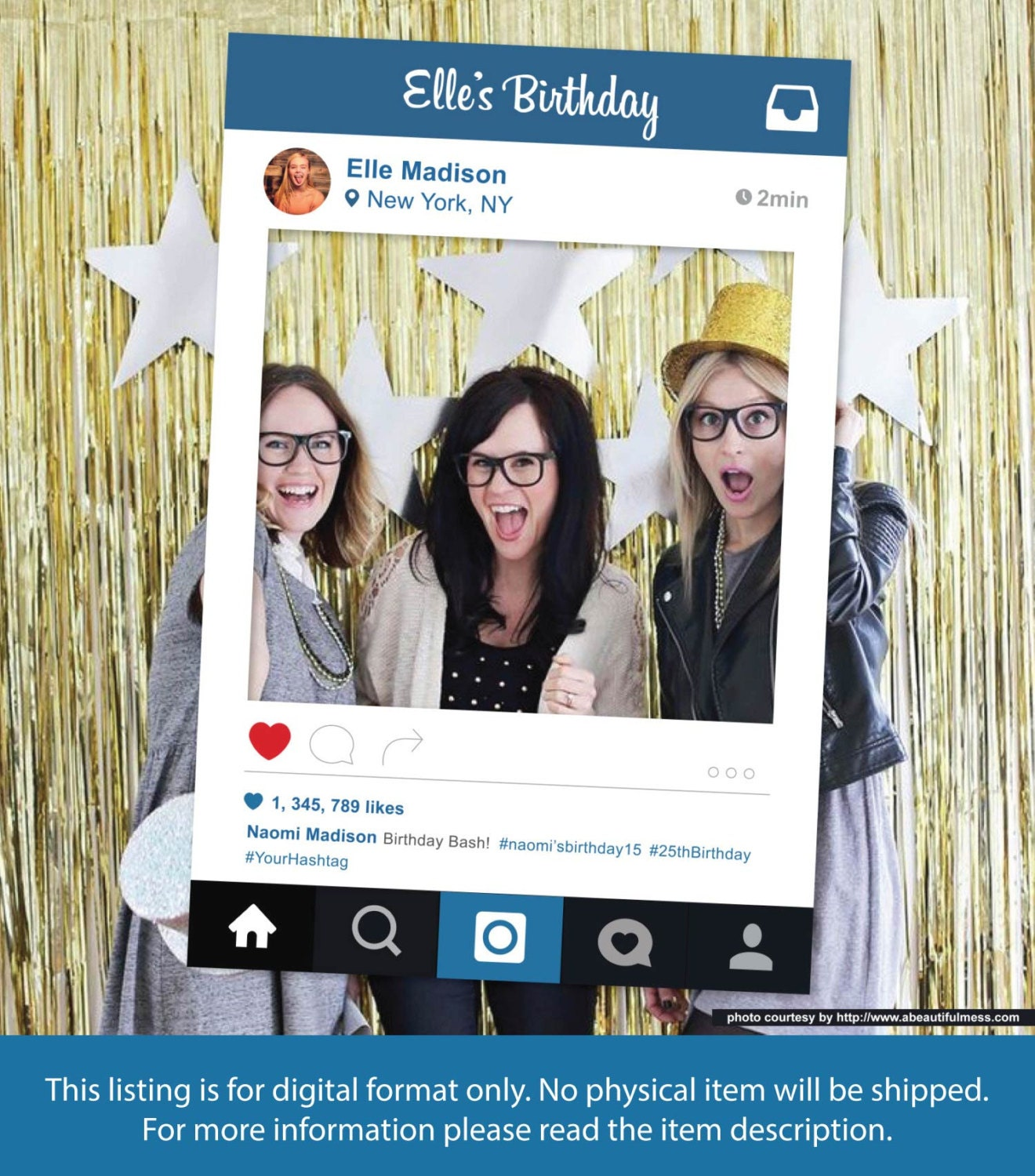 Social Media Photo Frame Photo Booth Prop Personalize