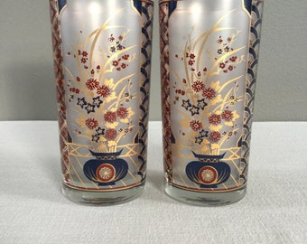 Culver Glasses Pair - Mid-Century Gold Tumblers - Asian Floral Design - Flower Vase - Bar Cart Glassware - Navy Blue