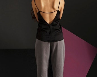 Clearance sale - Camisole - Loose Fit Top - V Neck Top - Open Back Top - Black top - Spaghetti Straps Top - Camisole Top - Satin Camisole -