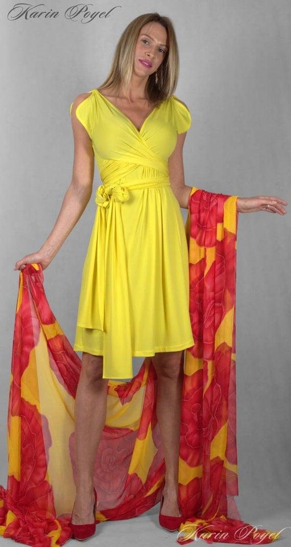 Yellow Bridesmaid Dress /  Stretch Cocktail Dress / Yellow Evening Dress / Sleeveless  Dress / KARIN # 12-033-01-372-00