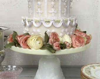 """Vintage 14"""" Ivory and White Milk Glass Cake Stand / Vintage Wedding Cake Stand /  Glass Dessert Stand"""