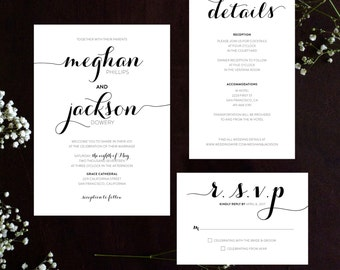 Modern Script Wedding Invitation Printable Digital File