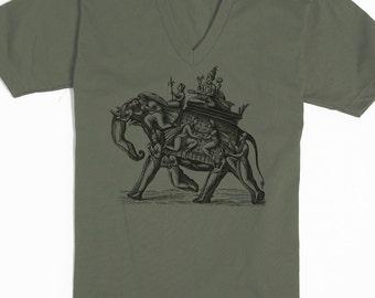 Elephant Shirt - American Apparel Vneck - Elephant Tee - Weird Shirt - Elephant Art - Odd T-shirt - Unique Gift