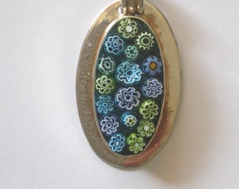 Blue and Green Millifiori Pendant