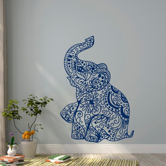 Elephant wall decal stickers elephant yoga wall decals indie for Indie wall art ideas