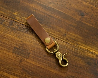 Key Fob - Horween Natural Snap Open with Trigger style clasp Antique Brass Finish (Solid Brass)