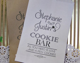 Personalized Cookie Bags - Wedding Cookie Bags - Cookie Bar Bags - Cookie Buffet - Love C03-P19