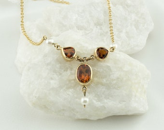 Citrine and pearl necklace, 14K gold necklace, Citrine and gold necklace, gold & citrine, Madeira orange citrine, delicate gold necklace