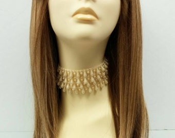 Long 21 inch Straight Mixed Blonde and Brown Lace Front Wig with Bangs and Premium Heat Resistant Fiber. [37-207-Sonya-24/27/12/8]