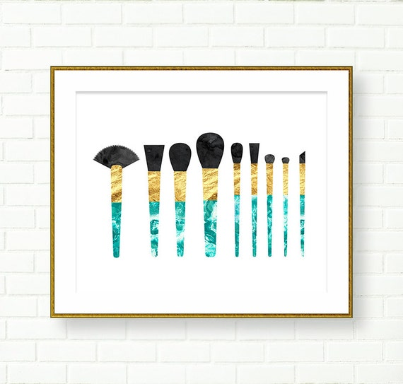 Brush Design For Wall : Vanity wall decor instant download makeup brushes art print