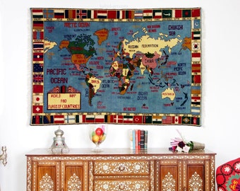 190 x 132 cm Rare gigantic warrug oriental wall Rug world Atlas carpet map hand Knotted