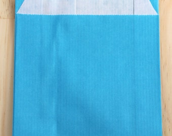 Lot of 25 pouches kraft 12 x 19 cm turquoise blue, Pack gifts