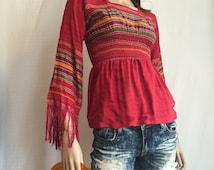 Vintage 70s Indian Embroidered Hippie Shirt - Boho Festival  India Embroidery Shirt - Penny Lane Cotton Gauze Blouse with Fringe