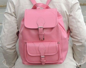 "Pink leather backpack ""Rhine"""