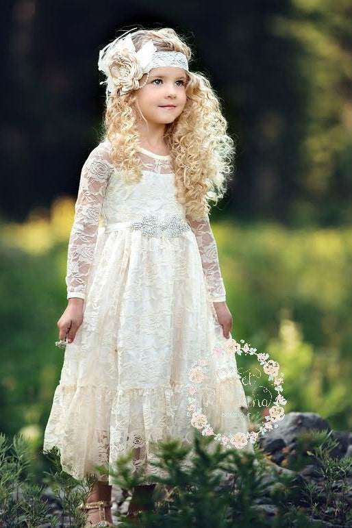 Flower Girl Dress Girl Lace Dress Country Lace Dress Ivory