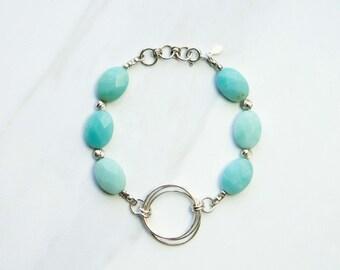 Gemstone bracelet, blue amazonite bracelet, gemstone boho beaded bracelet, sterling silver beaded bracelet, semi precious gemstone bracelet