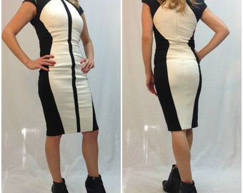 Black and White Women Dress / Knee Length Fitted Dress  / Evening Dress / Mini Party Dress