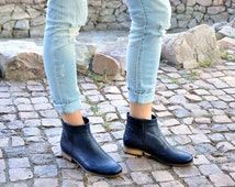 Classon - Womens Ankle Boots, Womens Leather Boots, Chelsea Boots, Navy Boots, Casual Style, Custom Boots, FREE customization & shipping!!!