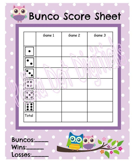 Items Similar To Buy 2 Get 1 Free Owl Bunco Score Card